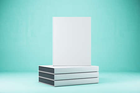 Empty closed white hardcover books. Close up. Publish and info concept. Mock up, 3D Rendering