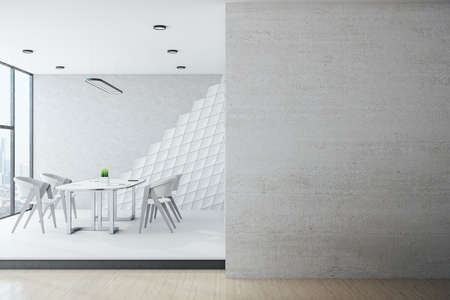 Loft conference interior with furniture, city view and blank gray wall. Workplace and lifestyle concept. 3D Rendering