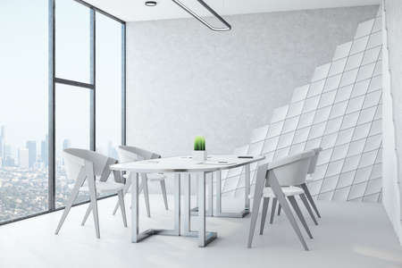 Modern white meeting room interior with furniture, panoramic city view and blank wall. Workplace and lifestyle concept. 3D Rendering