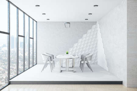 Modern white meeting room interior with furniture, panoramic city view and daylight. 3D Rendering Reklamní fotografie