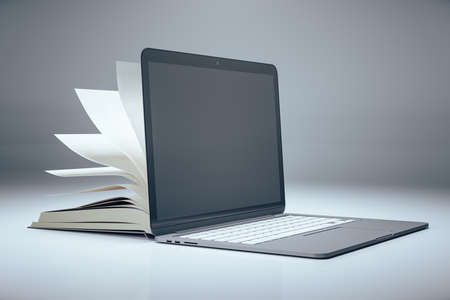 Open book and laptop with blank empty screen. Mock up, Online education and webinar concept. 3D Rendering