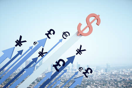 Red dollar sign and euro, yen, pound on many arrow on city background. Money and trade concept. 3D Rendering