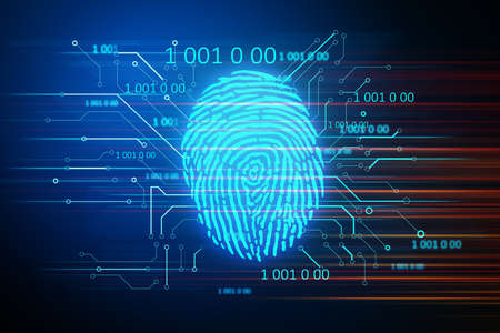 Digital security and private data access, fingerprint scanner. Business and security concept. 3D Rendering