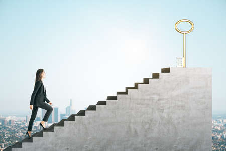 Young businesswoman climbing stairs with golden key on city background. Access and success concept.