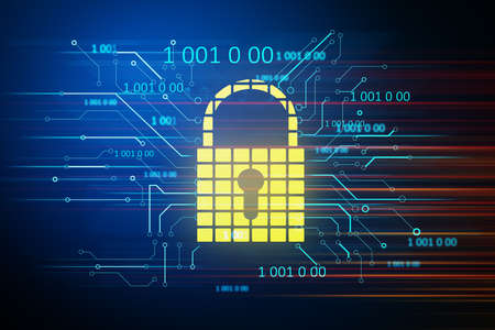 Creative glowing yellow padlock with binary code. Safety and protection concept. 3D Rendering Foto de archivo
