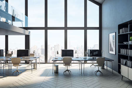 Minimalistic coworking office hall with computers on table and city view. Workplace and corporate concept. 3D Rendering