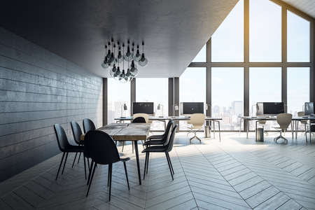Minimalistic coworking office hall with computers on table, city view and meeting table. Workplace and corporate concept. 3D Rendering
