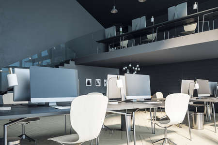 Loft office space with computers and office supplies. Workplace and corporate concept. 3D Rendering
