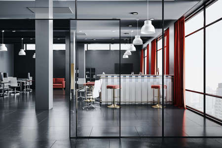 Luxury office hall with bar counter, glass wall and city view. Workplace and lifestyle concept. 3D Rendering