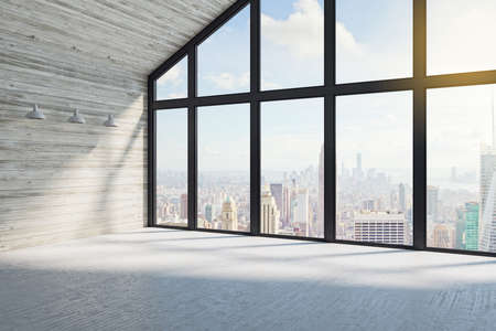 Modern loft interior with city view. Workplace and lifestyle concept. 3D Rendering 版權商用圖片