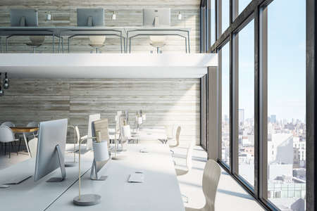 Contemporary office hall with panoramic city view and computers on table. Workplace and company concept. 3D Rendering