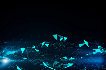 Creative blue polygonal background. Technology and shape concept. Mock up. 3D Rendering