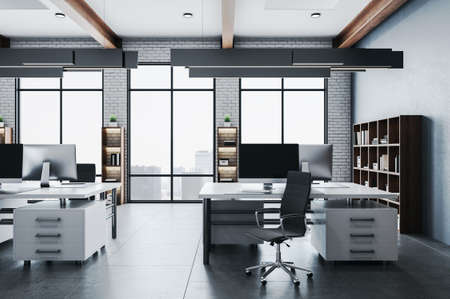 Coworking office hall with panoramic city view, computers on table and shelf with documents. Workplace and company concept. 3D Rendering 版權商用圖片