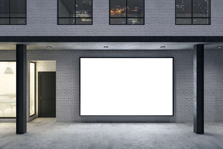 Store with blank poster on brick wall and columns. Advertisement and retail concept. Mock up, 3D Rendering