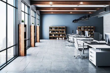 Contemporary office hall with panoramic city view, computers on table and shelf with documents. Workplace and company concept. 3D Rendering