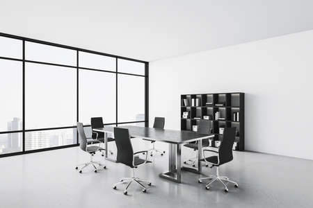 Contemporary conference interior with shelves with folders. Workplace and company concept. 3D Rendering 版權商用圖片