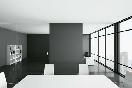 Luxury conference interior with empty black wall, big negotiation table and nobody. Presentation and corporate concept. Mock up, 3D Rendering 版權商用圖片
