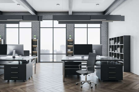 Modern open space office with rows of computer tables and city view. Workplace and company concept. 3D Rendering