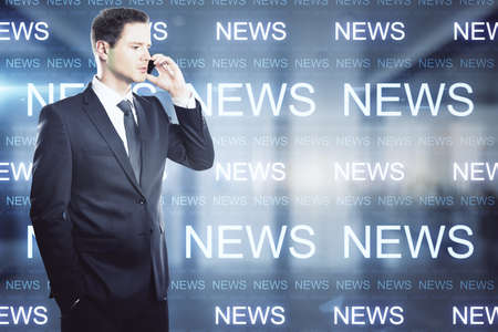 Businessman talking on the phone against the background of the inscriptions News, double exposure