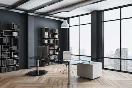 Luxury office hall with panoramic city view and shelf with documents. Workplace and company concept. 3D Rendering