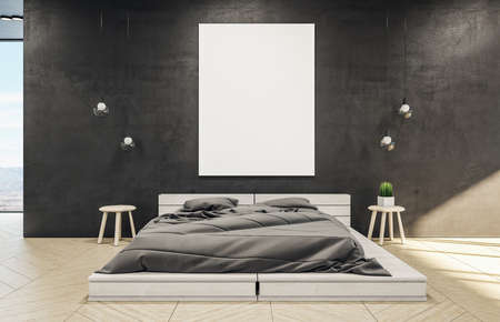 Clean bedroom interior with a wooden bed, blank poster, and lamp. 3D rendering. Standard-Bild