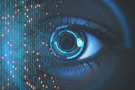 Close up of eye with binary code. Biometrics and computing concept. Double exposure