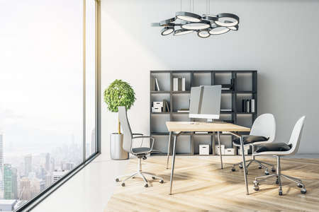 Modern CEO office with computer and panoramic city view. Workplace and company concept. 3D Rendering