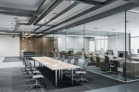 Contemporary conference loft room with reception, meeting table and glass wall. Seminar and conference concept. 3D Rendering