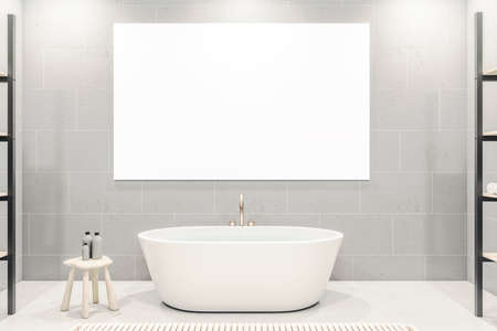 Contemporary bathroom interior with bath and blank poster on wall. Design, apartment and hotel concept. 3D Rendering