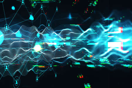 Abstract wave with computing cloud diagram hologram. Connection and communication concept. 3D Rebdering