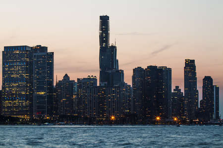Beautiful Chicago skyscrapers at evening Stok Fotoğraf