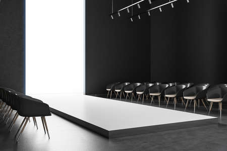 Gray empty fashion podium. Fashion show and performance concept. Mock up. 3D Rendering