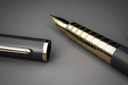 Golden fountain pen with cap on a black papper background. Art and business concept. 3D Rendering