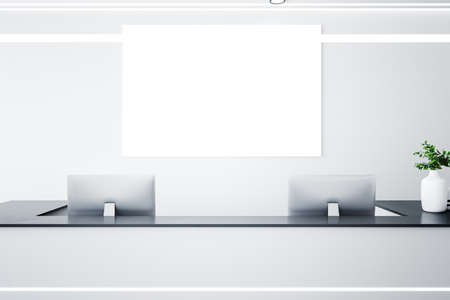 Reception desk in a corridor with blank poster on wall. Workplace and corporate concept. 3D Rendering Stock fotó