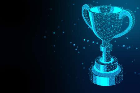 Glowing polygonal winner cup on blue background. Communication and winner concept. 3D Rendering Standard-Bild
