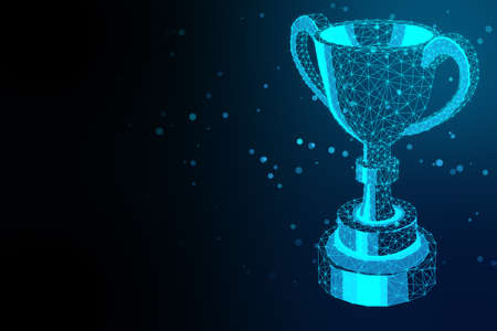 Glowing polygonal winner cup on blue background. Communication and winner concept. 3D Rendering Stock fotó