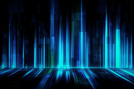 Abstract digital background with dark wall and floor and glowing blue and green lines. Mock up, 3D rendering