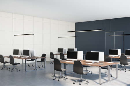 Monochrome style interior design of open space office with black and white walls, concrete floor, wooden tables and black chairs. 3D rendering