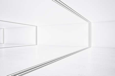 Side view on light interior design in empty hall room divided by frames. 3D rendering, mock up