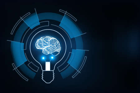 Hologram brain inside a lightbulb encircled in rectangles, artificial intellingence and idea concept, 3d rendering