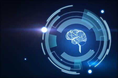 Hologram brain encircled in multiple rectangles on blue background, artificial intelligence concept, 3d rendering