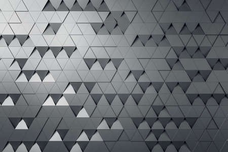 Gray triangular particles background abstract design, wallpaper concept, 3d rendering Banque d'images