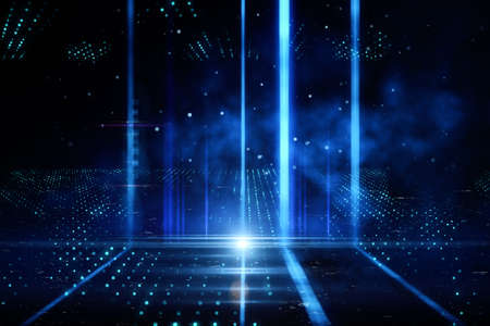 Big blue columns of light glowing in the dark with smoke, dark background, neon lights, disco and show concept, 3d rendering