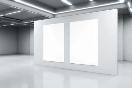 Empty big white room with a white concrete wall with two blank posters in the middle, artificially lighted, art gallery and exhibition interior design concept, 3d rendering, mockup
