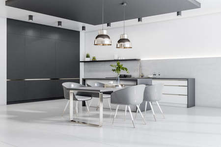 Modern cozy bright furnished kitchen with chairs, table and lamps, white concrete floor and a black empty wall, interior design concept, 3d rendering