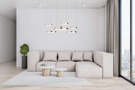 Sunny spacious living room with huge big sofa and stylish coffee tables on wooden floor, green plant in black vase and city view from windows to floor. 3D rendering