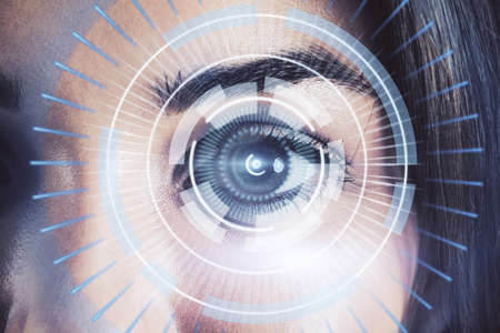 Eye closeup with hologram circles around, security technology and authentication concept Stock Photo