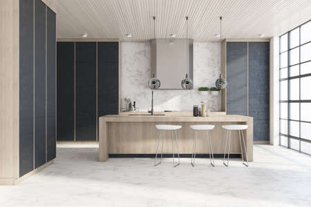 Modern kitchen interior with island, appliances, window with city view. Design concept. 3D Rendering