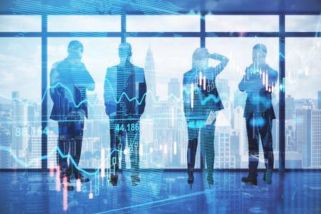 Pensive backlit businesspeople standing in blurry office with forex chart and city view. Meeting and stock market concept. Double exposure Stock fotó