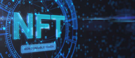 Non fungible tokenscrypto art concept with abstract technological background with copyspace and glowing digital NFT symbol. 3D rendering,, mockup Reklamní fotografie